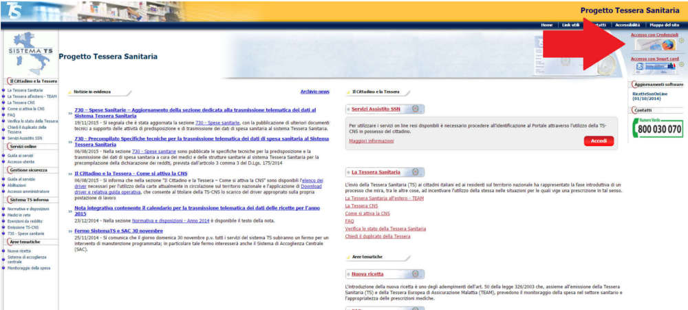 Accesso con credenziali al Sistema TS