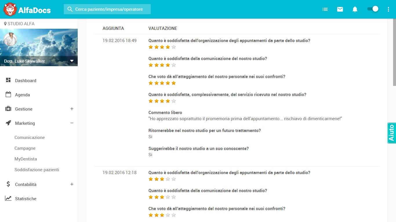 soddisfazione pazienti - analisi dati