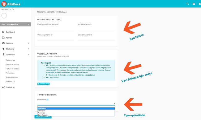 Step 6: inserisci dati fattura
