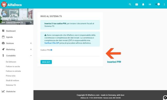 Step 9: inserisci PIN e invia documenti